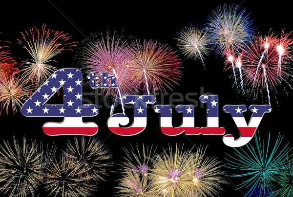 USA zászló tűzijáték háttér kék csillag Stock fotó © asturianu