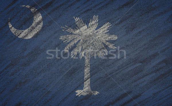 South Carolina flag painted with colored chalk on a blackboard.  Stock photo © asturianu