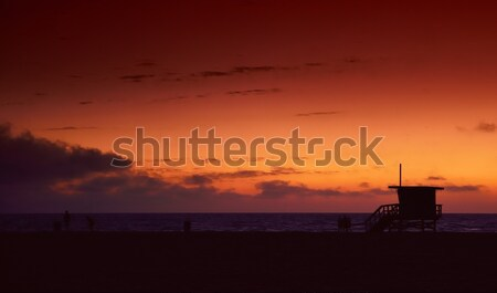 Lifeguard tower at sunset in Hermosa Beach. Stock photo © asturianu