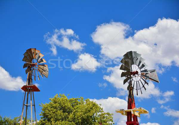 Two windmill on an agricultural farm in USA. Stock photo © asturianu