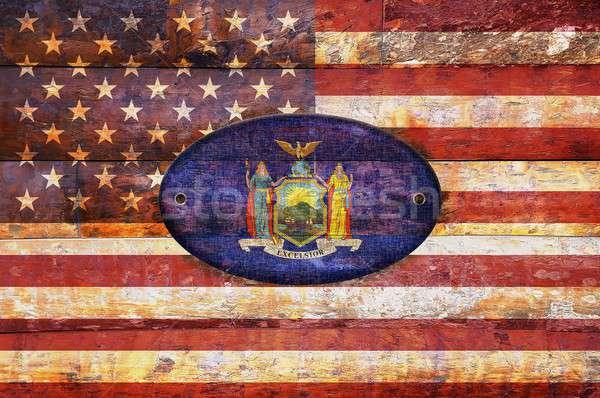 Wooden flag of New York. Stock photo © asturianu