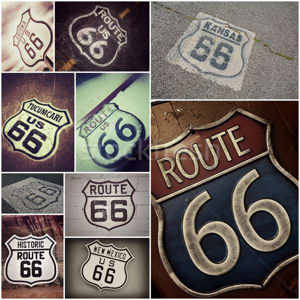 Stock photo: Old Route 66 signs.
