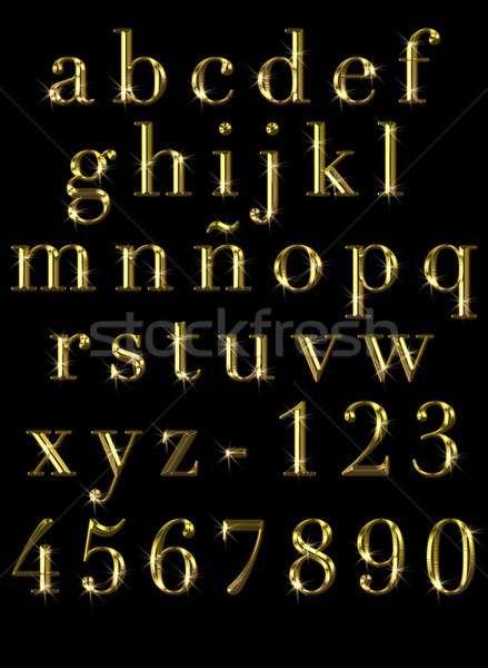 Arany illusztráció fekete levél pénzügy nyomtatott Stock fotó © asturianu