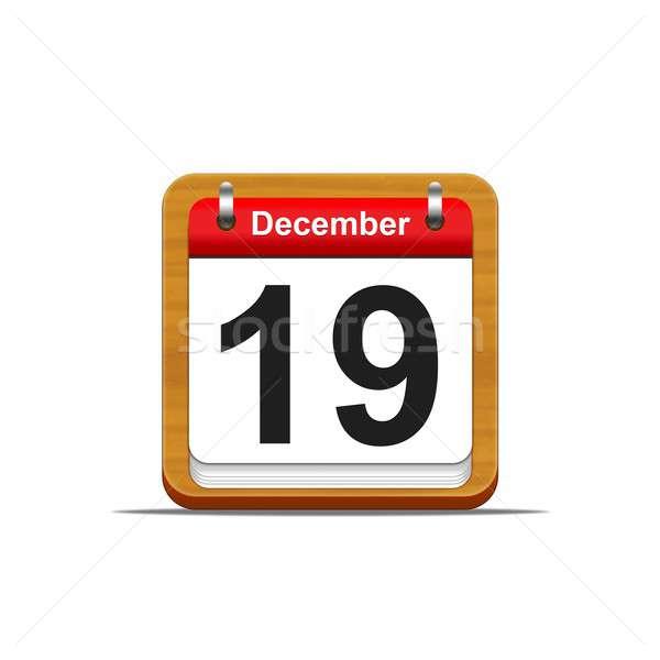December 19 illusztráció elegáns fából készült naptár Stock fotó © asturianu