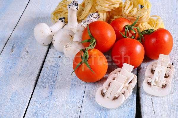 томатный грибы тальятелле продовольствие таблице Сток-фото © asturianu