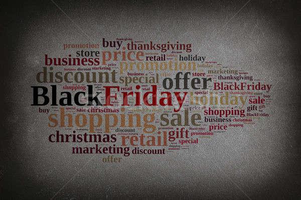 черная пятница доске слово облако 3D бизнеса Сток-фото © asturianu