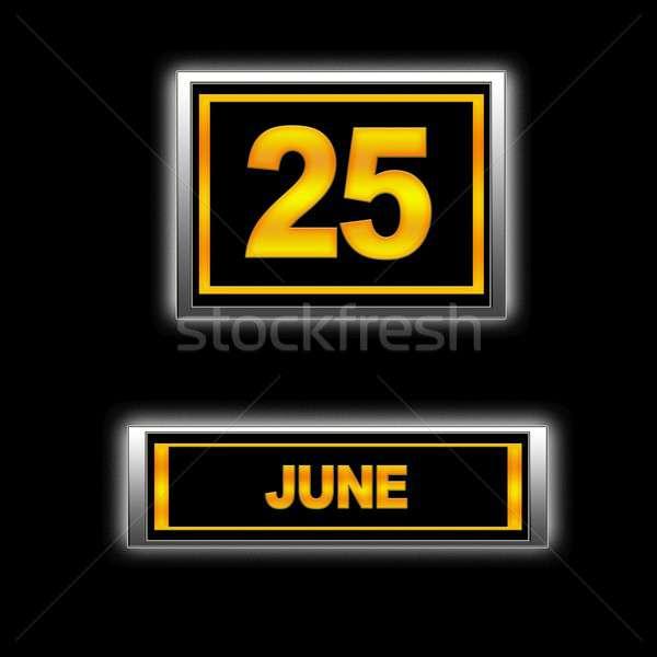 25 ilustración calendario educación negro programa Foto stock © asturianu
