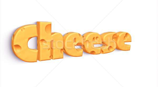 Isolated word CHEESE made of yellow cheddar Stock photo © asturianu