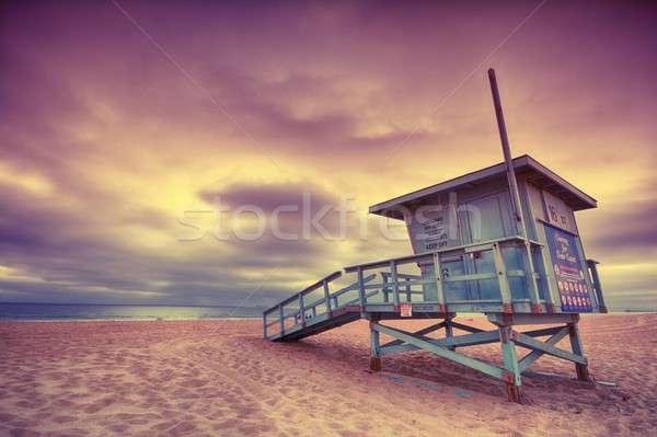 Ratownik wieża wygaśnięcia plaży niebo Zdjęcia stock © asturianu