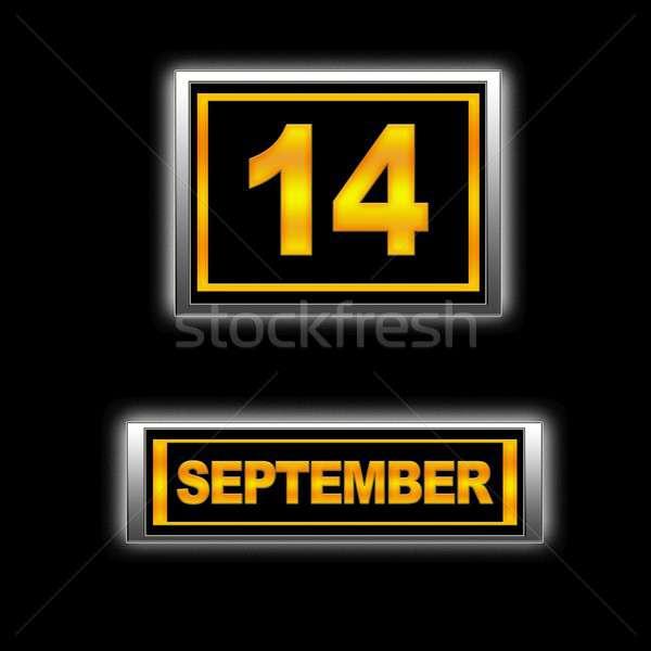 14 illustratie kalender onderwijs zwarte agenda Stockfoto © asturianu