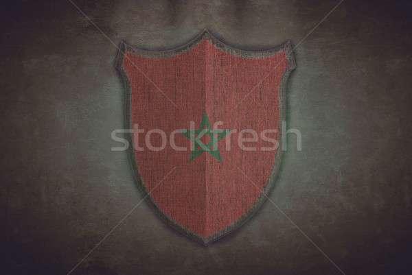 Pajzs Marokkó zászló illusztráció öreg háttér Stock fotó © asturianu