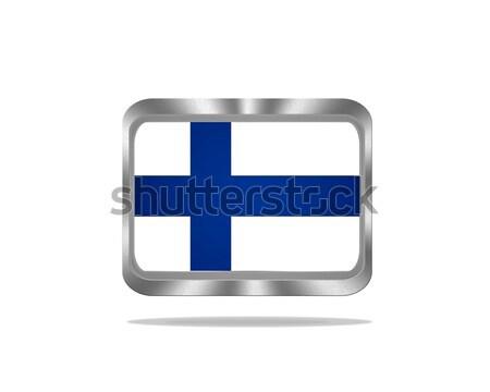 Metal Finlandiya bayrak örnek beyaz çerçeve Stok fotoğraf © asturianu
