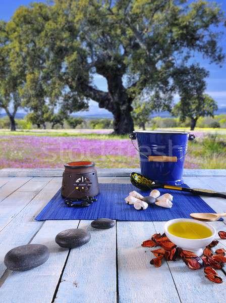 Sauna ahşap masa yağlar sıcak taşlar güzellik Stok fotoğraf © asturianu