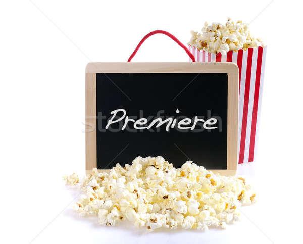 Première popcorn Blackboard woord voedsel achtergrond Stockfoto © asturianu