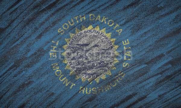 Güney Dakota bayrak boyalı renkli tebeşir tahta Stok fotoğraf © asturianu
