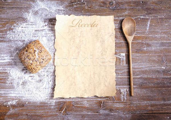 Receita pergaminho cozinha pão cozinhar Foto stock © asturianu