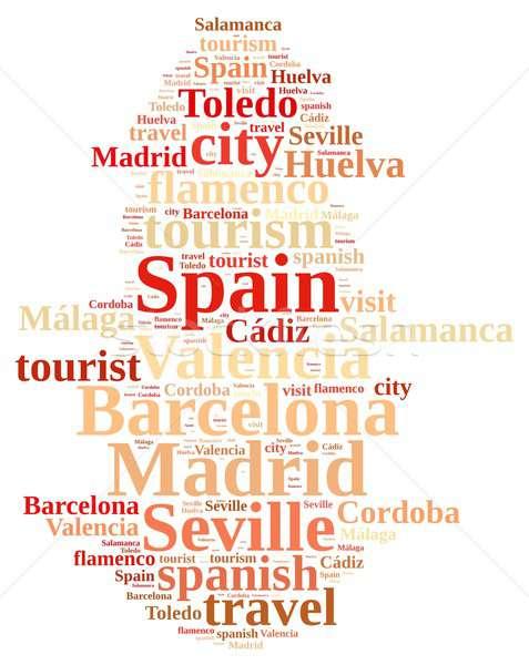 Ziyaret İspanya örnek kelime bulutu şehir turizm Stok fotoğraf © asturianu