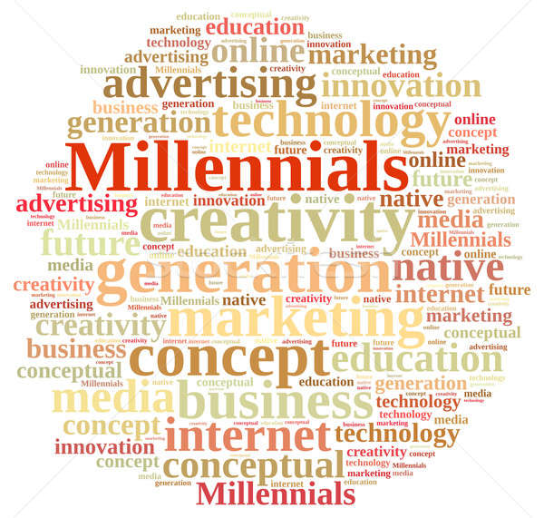 Word cloud relating to Millennials. Stock photo © asturianu