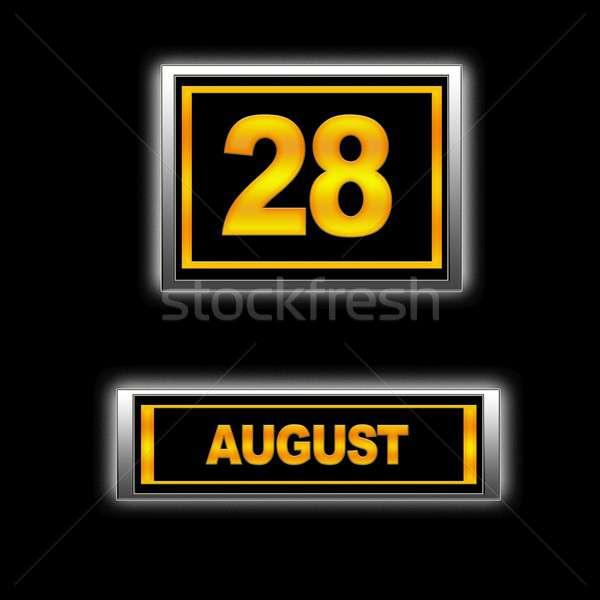 Août illustration calendrier éducation noir l'ordre du jour Photo stock © asturianu