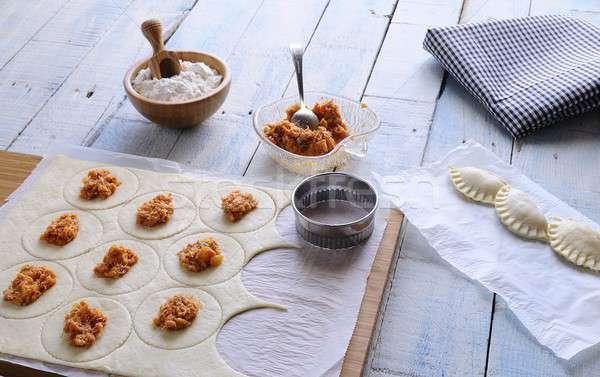Nyers kellékek asztal fa konyha főzés Stock fotó © asturianu