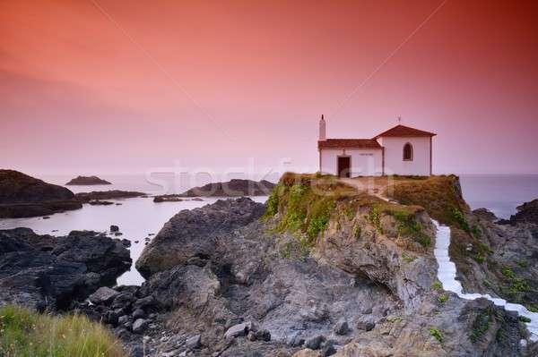 Galicië mariene hemel zonsondergang zee zomer Stockfoto © asturianu