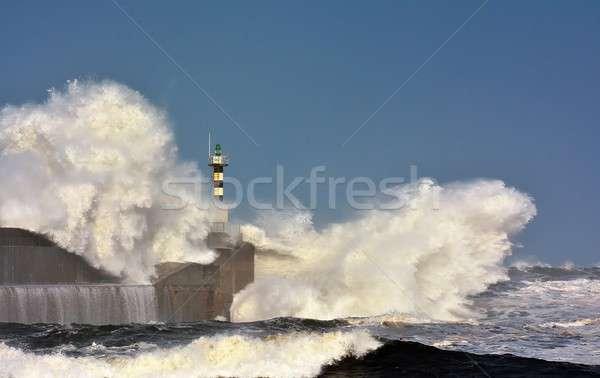 Fırtınalı dalga deniz feneri iskele doğa deniz Stok fotoğraf © asturianu