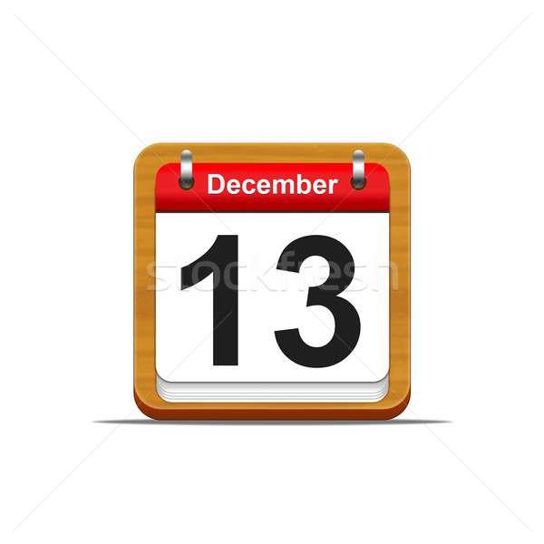 Dicembre 13 illustrazione elegante legno calendario Foto d'archivio © asturianu