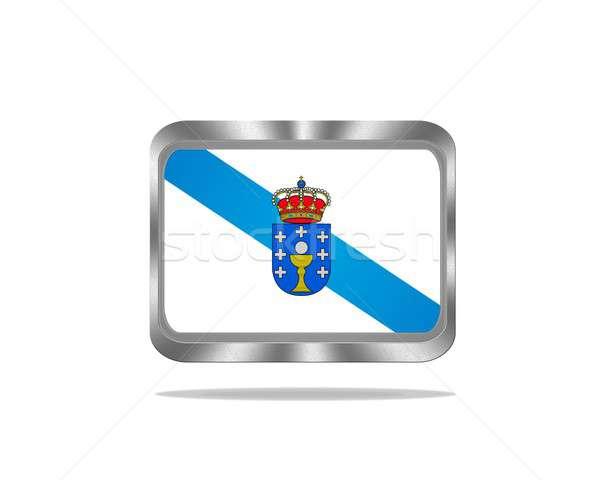 Metaal galicië vlag illustratie witte web Stockfoto © asturianu