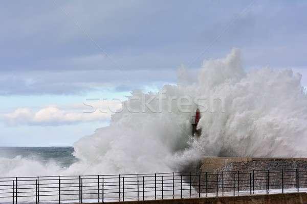 бурный волна старые Маяк пирс природы Сток-фото © asturianu