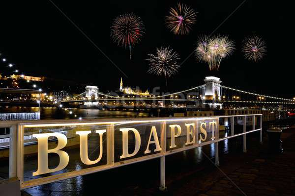 Signboard with the word Budapest with Chain bridge and fireworks. Stock photo © asturianu