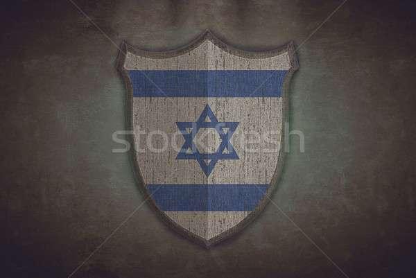 щит Израиль флаг иллюстрация старые дизайна Сток-фото © asturianu