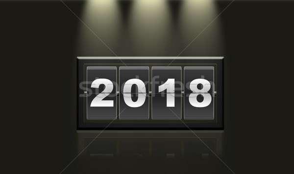 Ano novo calendário ilustração ano preto Foto stock © asturianu