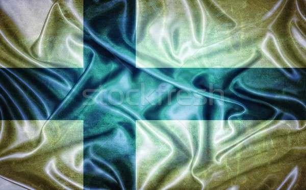 Vintage Финляндия флаг иллюстрация старые фон Сток-фото © asturianu
