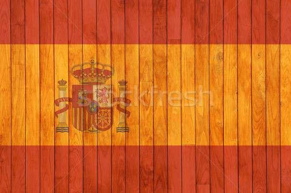 Spain flag wooden background. Stock photo © asturianu