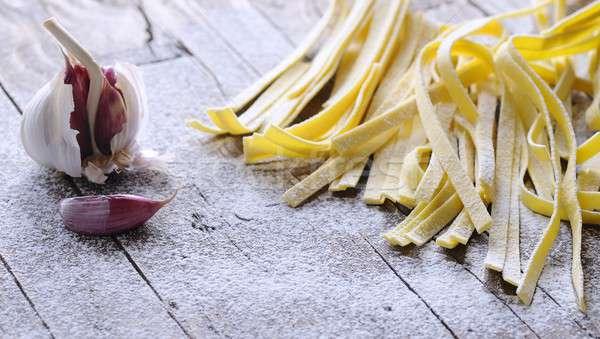 Tagliatelle ev yapımı ahşap masa mutfak pişirme pişirmek Stok fotoğraf © asturianu