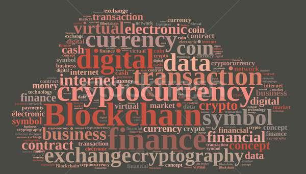 Words cloud with Blockchain. Stock photo © asturianu