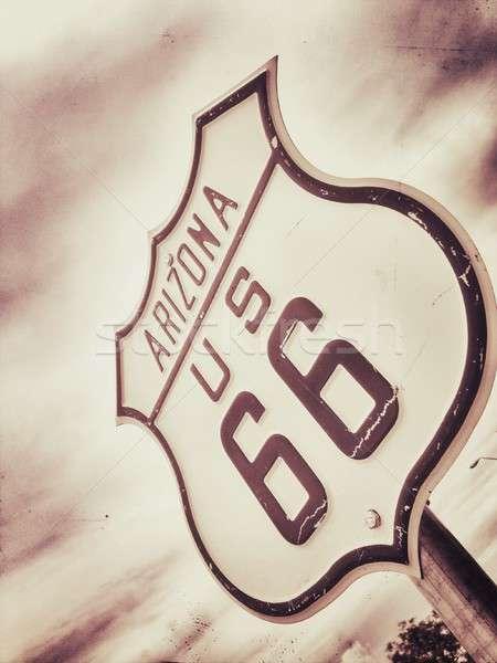 Route 66 felirat történelmi út anya utazás Stock fotó © asturianu