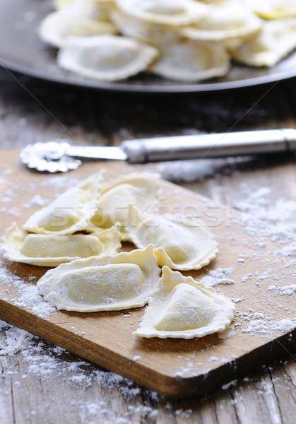 Vers ravioli keukentafel diner maaltijd Stockfoto © asturianu