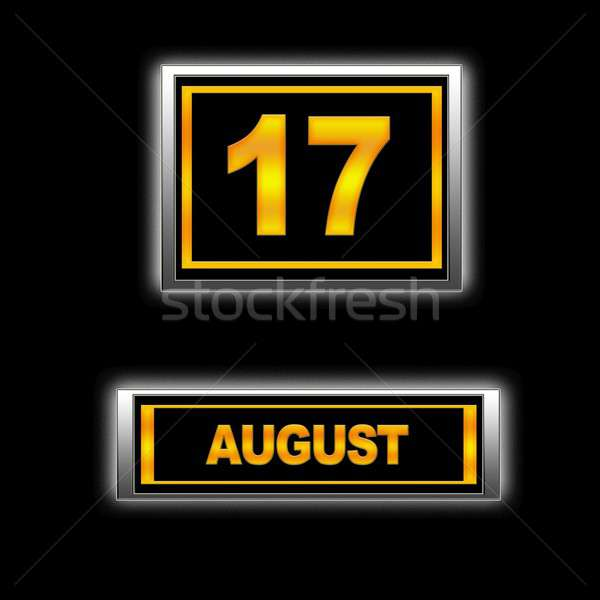 Augustus 17 illustratie kalender onderwijs zwarte Stockfoto © asturianu