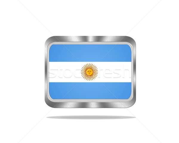 Fém Argentína zászló illusztráció fehér háttér Stock fotó © asturianu
