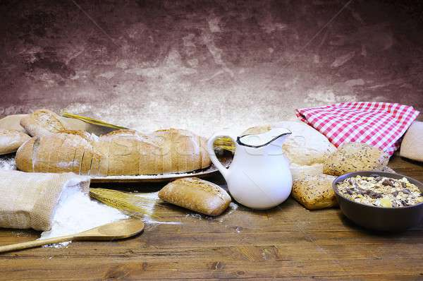 старые хлебобулочные Ингредиенты таблице хлеб завтрак Сток-фото © asturianu