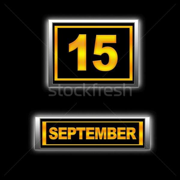 15 illustrazione calendario istruzione nero agenda Foto d'archivio © asturianu
