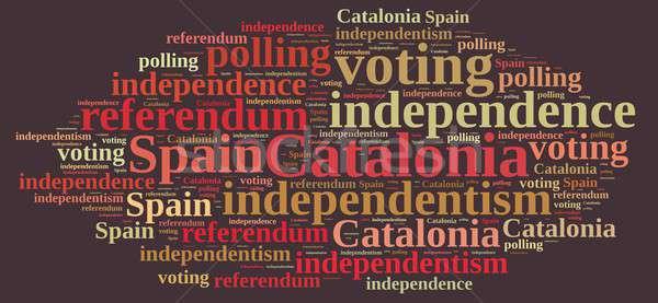 Referendum Hiszpania ilustracja chmura słowo Europie kraju Zdjęcia stock © asturianu