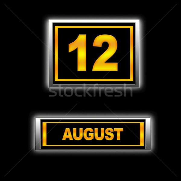 Agosto 12 illustrazione calendario istruzione nero Foto d'archivio © asturianu