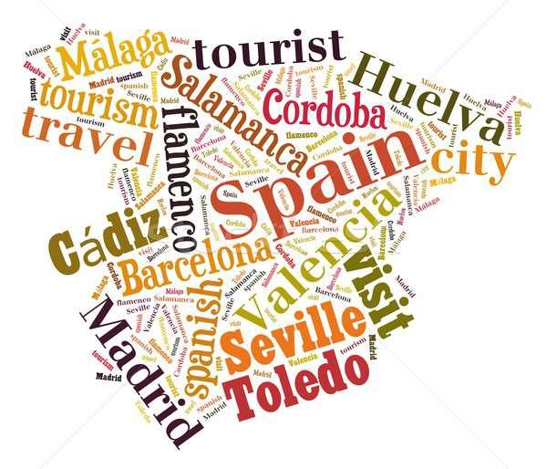 Wizyta Hiszpania ilustracja chmura słowo miasta turystyki Zdjęcia stock © asturianu