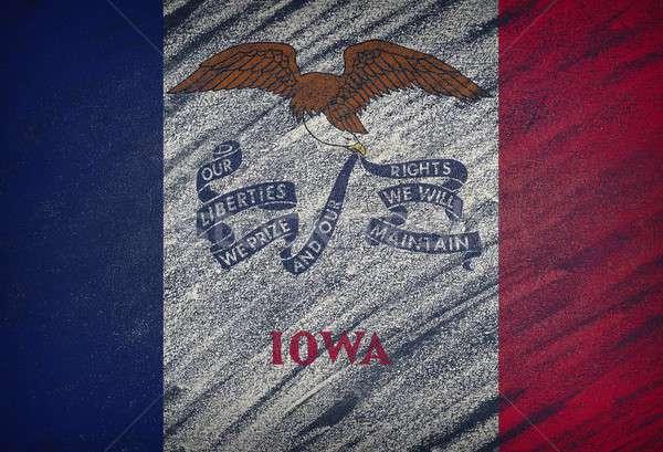 Iowa zászló festett színes kréta iskolatábla Stock fotó © asturianu
