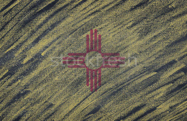 New Mexico flag painted with colored chalk on a blackboard.  Stock photo © asturianu