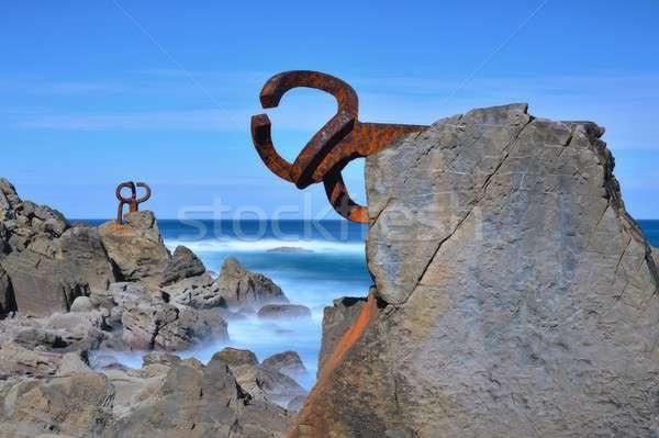 Szobor Spanyolország tengerpart tájkép vidék természet Stock fotó © asturianu
