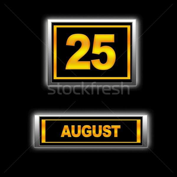 Août 25 illustration calendrier éducation noir Photo stock © asturianu