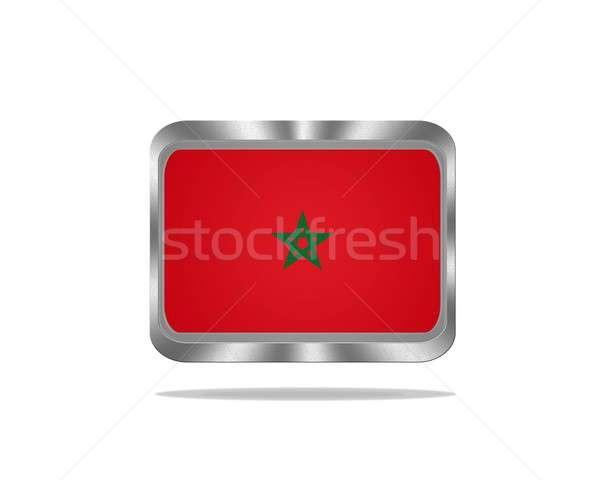 Fém Marokkó zászló illusztráció fehér keret Stock fotó © asturianu